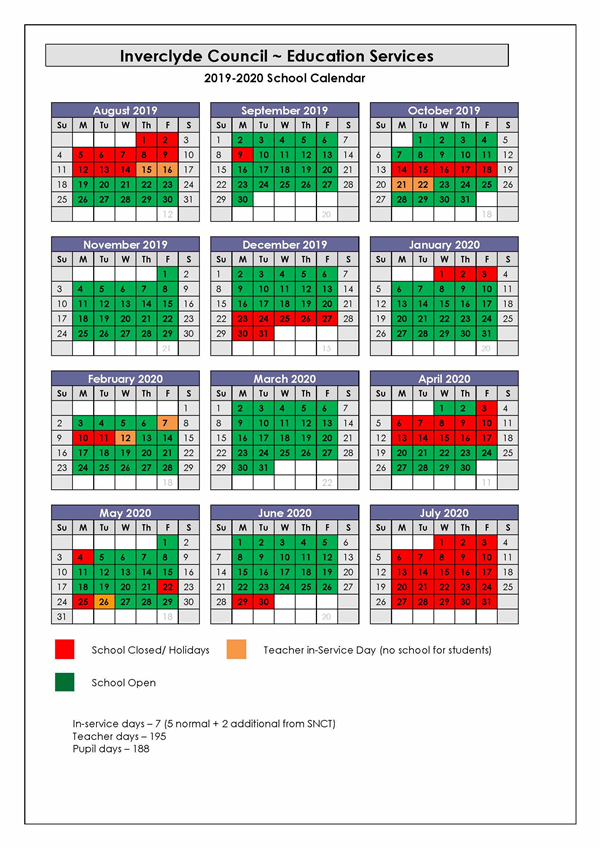 May 2020 Calendar With Holidays Uk.Inverclyde Council School Holidays