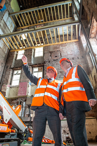 Kevin Stewart MSP and Councillor Jim Clocherty inspect the interior of St Mary's Primary School upgrade August 2019