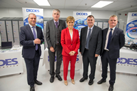 Scottish Enterprise chief executive Steve Dunlop, Diodes European President Tim Monaghan, First Minister Nicola Sturgeon, Inverclyde Council Leader Cllr. Stephen McCabe and Diodes Greenock MD Gerry McCarthy