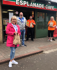 Esplanade Cafe ice cream and sweets donation to Inverclyde HSCP children's residential houses. Pictured, from left, Maria Sinclair, from The View, David McFarlane, from Crosshill, and Marco and Tania Medinelli.