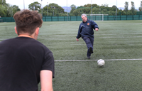 Going for goal Cllr Ronnie Ahlfeld at Parklea pitches