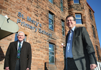 Revamped St Mary's Primary Greenock, pictured are councillors Martin Brennan and Jim Clocherty