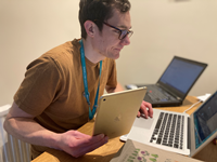 Inverclyde Libraries 'Device Advice' service providing residents with basic digital skills support over the phone by staff including William Henderson, senior library assistant, pictured.