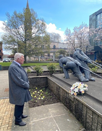 International Workers' Memorial Day 2021 wreath laying by Provost of Inverclyde Martin Brennan