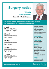 Councillor Martin Brennan surgeries April - June