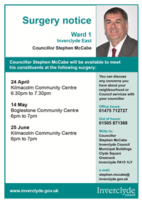 Councillor Stephen McCabe surgeries April - June 2012