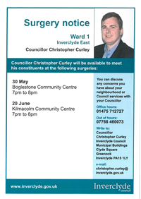 Councillor Christopher Curley surgeries May - June