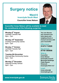 Councillor Innes Nelson Surgeries Aug-Dec 2018