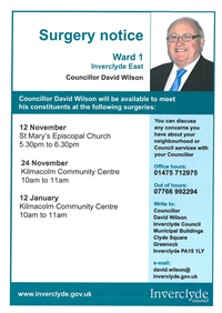 Councillor David Wilson Surgeries Nov 2018 - Jan 2019