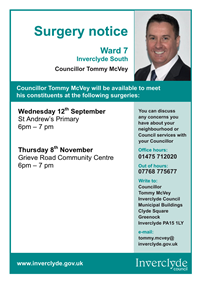 Councillor Tommy McVey Surgeries Sep-Nov 2018