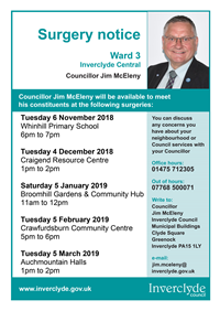 Councillor Jim McEleny Surgeries November 2018 to March 2019