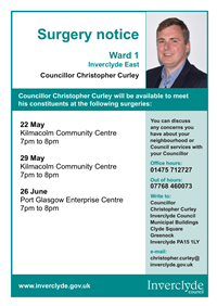 Councillor Christopher Curley surgeries May to June 2019