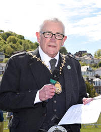 2019 Chieftain, Provost Martin Brennan, opens the Gourock Highland Games