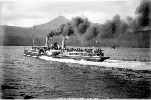 PS IVANHOE leaving Brodick, Arran - Photographed by George Washington Wilson (1823-1893) - Bromide print on paper - P1100  © McLean Museum and Art Gallery, Greenock