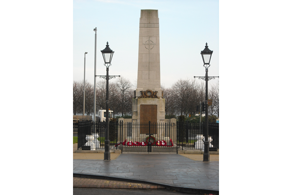 This war memorial is located in Fore Street, Port Glasgow, opposite the bus terminus.