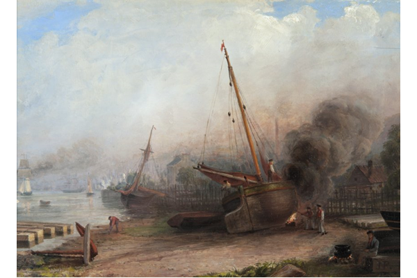Burning the Bottom, Bay of Quick, Greenock by John Fleming (1792-1845) - Oil on canvas - 20.5 x 30 cm - 1977.824 ©McLean Museum and Art Gallery, Greenock
