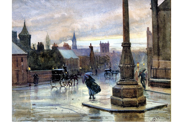 A Wet Night, May 1883 - Watercolour on paper - 22 x 27.5 cm -  1977.754 ©McLean Museum and Art Gallery, Greenock. This work was conserved with the generous assistance of the Scottish Museums Council.