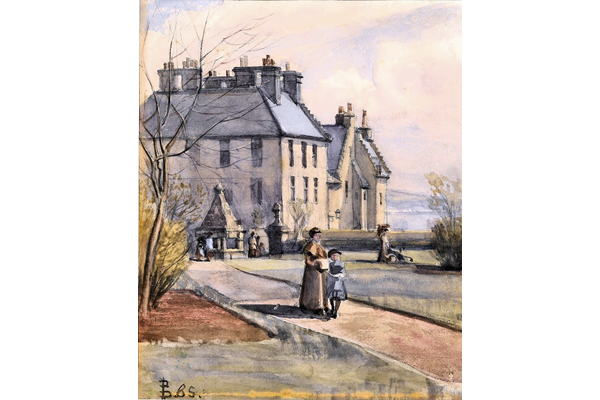The Old Mansion House, Greenock - Watercolour on paper - 21.3 x 17.3 cm - 1885 - 1977.758 ©McLean Museum and Art Gallery, Greenock. This work was conserved with the generous assistance of the Scottish Museums Council.