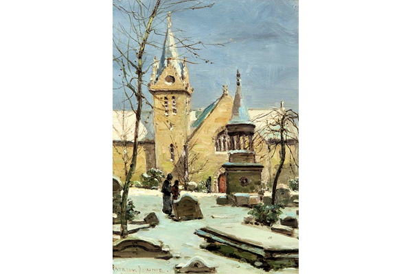 The Old West Kirk, Greenock - Oil on board - 35.3 x 25.2 cm - 1977.763 ©McLean Museum and Art Gallery, Greenock