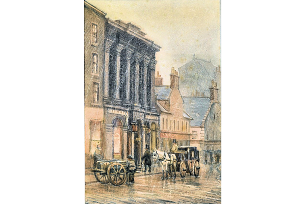 The Clydesdale Bank, Hamilton Street, Greenock - Watercolour on paper - 21.2 x 14.8 cm - 1977.767 ©McLean Museum and Art Gallery, Greenock. This work was conserved with the generous assistance of the Scottish Museums Council.