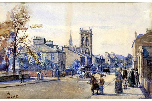 Trinity Church, Union Street, Greenock - Watercolour on paper - 17.5 x 26.5 cm - 1885 - 1977.753 ©McLean Museum and Art Gallery, Greenock. This work was conserved with the generous assistance of the Scottish Museums Council.