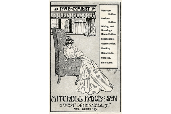 Advertisement for Mitchell Hodge and Son. This company specialised in home furnishings catering  to the increase in consumerism as fashion and taste exercised ever greater influence. - 1907 - Lithograph on paper - 1997.123 - © McLean Museum and Art Gallery, Greenock.