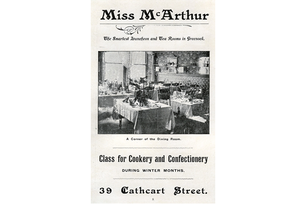 Miss McArthur's Tearooms ('The smartest luncheon and tea rooms in Greenock') is typical of the growth during the Edwardian period of more genteel, non-alcoholic, meeting places where ladies could meet, especially during shopping. - 1907 - Lithograph on paper - 1997.123 - © McLean Museum and Art Gallery, Greenock.