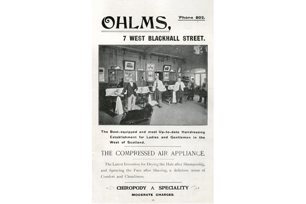 The Ohlms family originally came from Germany but anti-German prejudice during the First World War resulted in the family changing its name to 'Holms' by the 1920s. This advert dates from 1907 and refers to an early example of technology, 'The Compressed Air Appliance', being used in  hairdressing. - 1907 - Lithograph on paper - 1997.123 - © McLean Museum and Art Gallery, Greenock.