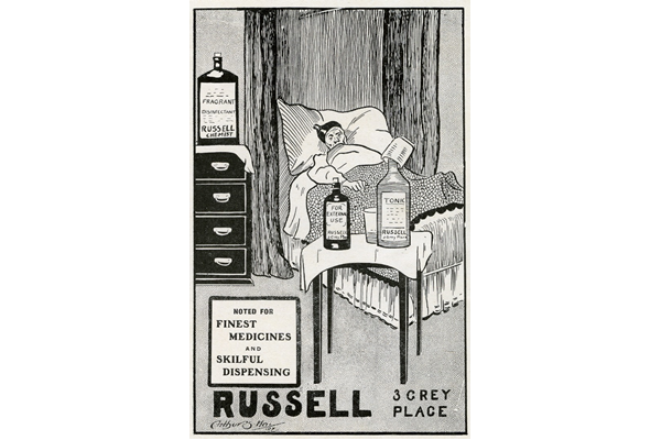 This advert for Russell's Medicines is an indication of the popularity of potions, prescribed or not, as a means curing ailments. In fact many medicines contained narcotic, alcoholic and other harmful ingredients, but this did not dent their popularity. 1907 - Lithograph on Paper - 1997.123 - © McLean Museum and Art Gallery, Greenock.