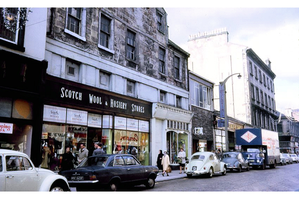 The Scotch Wool and Hosiery Store in West Blackhall Street, Greenock. This colour transparency was taken by Eugene Jean Méhat (1920-2000) in 1967 during the final years of the business. - 2008.72.620  - © McLean Museum and Art Gallery, Greenock.