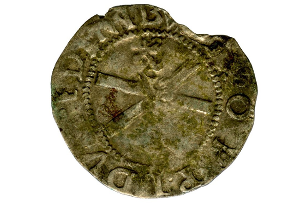 A Queen Mary Scottish Billon Bawbie, dating from the period 1542-1567, part of the Greenock Coin Hoard, made from billon - 1978.402 © McLean Museum and Art Gallery, Greenock.