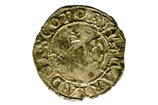 A Queen Mary Scottish Billon Bawbie, dating from the period 1542-1567, part of the Greenock Coin Hoard, made from billon.- 1978.405 © McLean Museum and Art Gallery, Greenock.