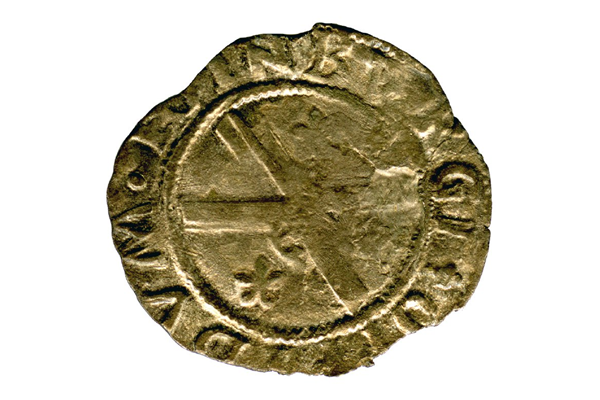 A Queen Mary Scottish Billon Bawbie, dating from the period 1542-1567, part of the Greenock Coin Hoard, made of billon. - 1978.413 © McLean Museum and Art Gallery, Greenock.