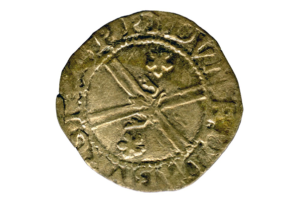 A Queen Mary Scottish Billon Bawbie, dating from the period 1542-1567, part of the Greenock Coin Hoard, made of billon. - 1978.414 © McLean Museum and Art Gallery, Greenock.