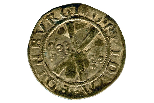 A King James V Scottish Billon Bawbie, type 1A, dating from the period 1538-1539, part of the Greenock Coin Hoard, made of billon. - 1978.421 © McLean Museum and Art Gallery, Greenock.