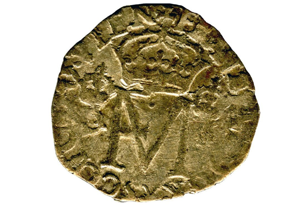 A Queen Mary & Francis Groat or Nonsunt coin dated 1559, part of the Greenock Coin Hoard. The Groat or Nonsunt was valued at twelve pence. It was made of billon with a silver content of 50%. - 1978.425 © McLean Museum and Art Gallery, Greenock.