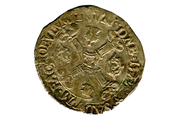 A James VI Quarter Merk / Half Noble coin dated 1573, part of the Greenock Coin Hoard. The Quarter Merk was valued at three shillings and four pence and was made of silver. - 1978.426 © McLean Museum and Art Gallery, Greenock.