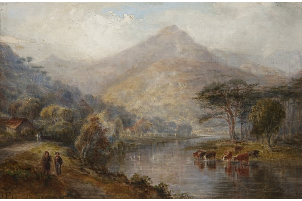 Highland Landscape with Cattle Drinking by John Fleming (1792-1845) - Oil on panel - 15.3 x 22.8 cm - 1827 - 1977.811 - © McLean Museum and Art Gallery, Greenock.
