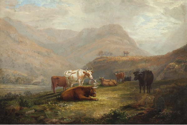 Landscape with Cattle by John Fleming (1792-1845) - Oil on canvas - 19.5 x 29.5 cm  - 1826 - 1977.812 - © McLean Museum and Art Gallery, Greenock.