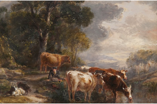 Landscape with Cattle by John Fleming (1792-1845) - Oil on canvas - 16.1 x 22.2 cm - 1977.822 - © McLean Museum and Art Gallery, Greenock.