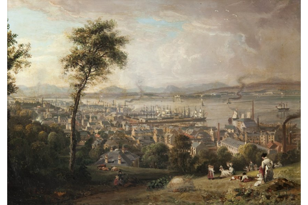Greenock from the South East by John Fleming (1792-1845) - Oil on panel - 20.8 x 31 cm - c 1828-1830 - 1977.823 - © McLean Museum and Art Gallery, Greenock.