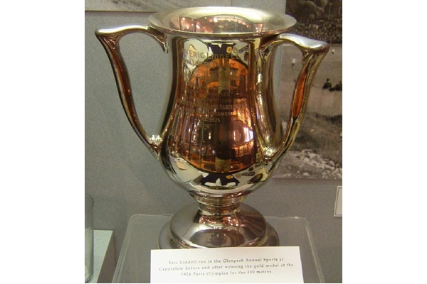 Eric Liddell (1902-1945), ran at the Glenpark Annual Sports at Cappielow, before and after winning the gold medal at the Paris Olympics for the 400 metres. He presented this trophy to Glenpark Harriers in 1925. It was awarded for the 440 yards handicap. - 1997.172 - © McLean Museum and Art Gallery, Greenock.