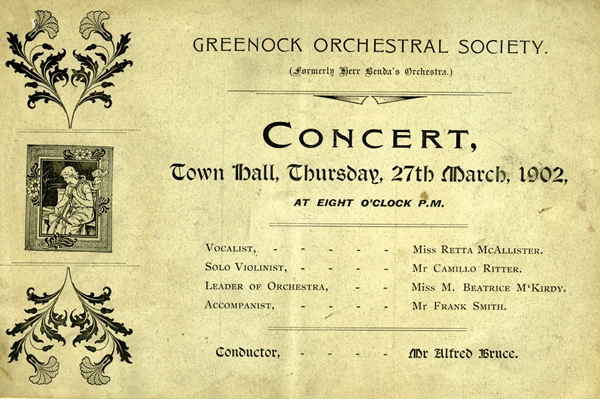 Greenock Orchestral Society conducted by Mr. Alfred Bruce, in the Town Hall, Greenock, on the 27th March 1902. - Ink on paper - 1902 - L2007.62 - © McLean Museum and Art Gallery, Greenock.