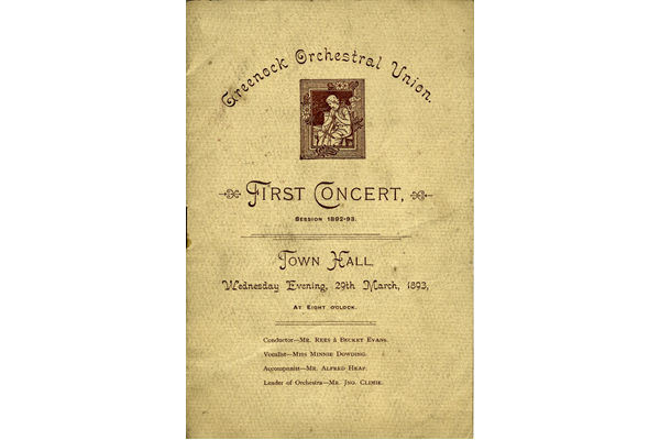 Programme for the First Concert held by the Greenock Orchestral Union in the Town Hall, Greenock on 29th March 1893 - Ink on paper - L2007.55 - © McLean Museum and Art Gallery, Greenock.