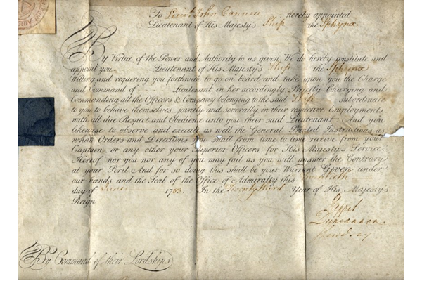 Vellum letter commissioning a John Cannon as Lieutenant of His Majesty's ship the SPHYNX, dated 1793. HMS SPHYNX was a Sixth-Rate 20-gun ship built to the design of Sir John Williams, surveyor of the Navy, at Portsmouth, Hampshire, and launched in 1775. She was broken up in 1811. - 1997.32 ©McLean Museum and Art Gallery, Greenock.
