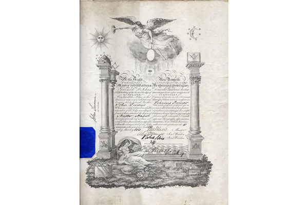 Membership certificate for Freemason Lodge No.175 St. John's, Greenock in the name of John Turner, who was received as a member in 1861. Document also bears a blue seal. - 1977.591 ©McLean Museum and Art Gallery, Greenock.