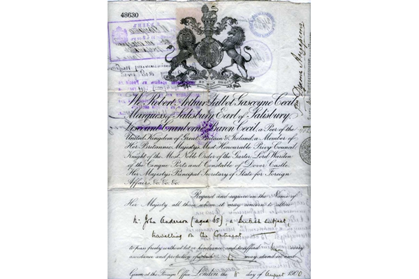 Passport issued to John Anderson, born 1835, by the British Government on the 11 August 1900 for a visit by him to Russia. - 1977.1275 ©McLean Museum and Art Gallery, Greenock.