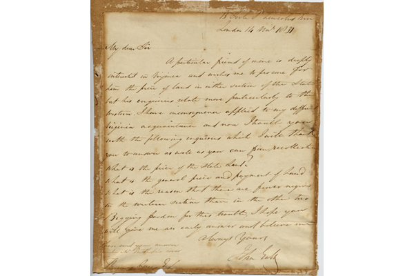 In this letter John Galt makes various enquiries about Virginia, including: 'What is the price of the state land? What is the general price and payment of land? What is the reason that there are fewer Negroes in the western section than in the other two.' The letter is dated 14 May 1831. - 1997.54 ©McLean Museum and Art Gallery, Greenock.