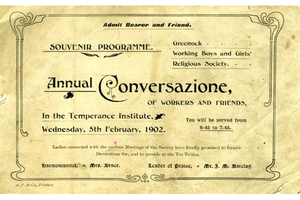 Souvenir programme and admission ticket for the Annual Conversazione of workers and friends of the Temperance Institute, Greenock held on Wednesday 5 February 1902 in the Temperence Institute, Greenock. - 1978.2 ©McLean Museum and Art Gallery, Greenock.