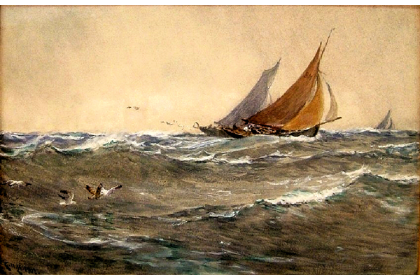 In the Track of the Trawler by Charles Napier Hemy (1841-1917) - Watercolour on paper - 47.5 x 69 cm  1977.865 - © McLean Museum and Art Gallery, Greenock